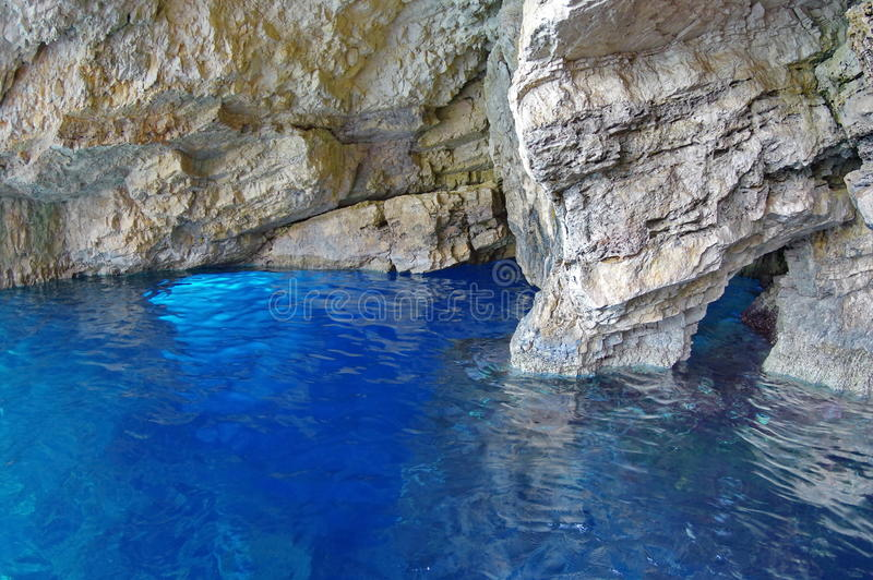 Blue Caves - Ionian Sea, Zakynthos Island, landmark attraction in Greece. Seascape royalty free stock images