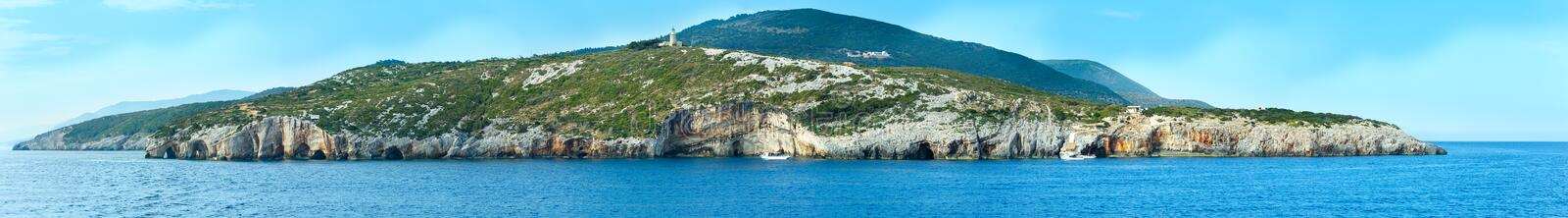 The Blue Caves in Zakynthos (Greece). Panorama. royalty free stock photography