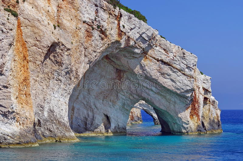 Blue Caves and Ionian Sea - Zakynthos Island, landmark attraction in Greece. Summer landscape. Seascape royalty free stock photography