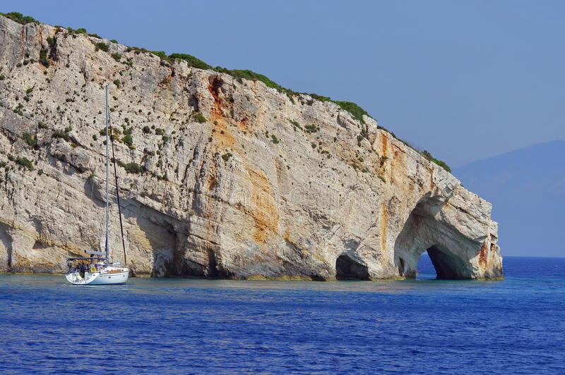 Blue Caves and Ionian Sea - Zakynthos Island, landmark attraction in Greece. Seascape stock photos