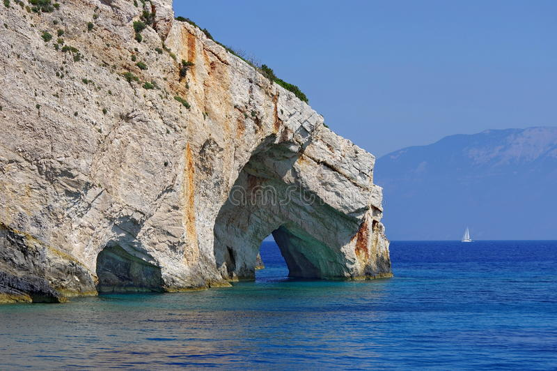 Blue Caves and Ionian Sea - Zakynthos Island, landmark attraction in Greece. Seascape stock images
