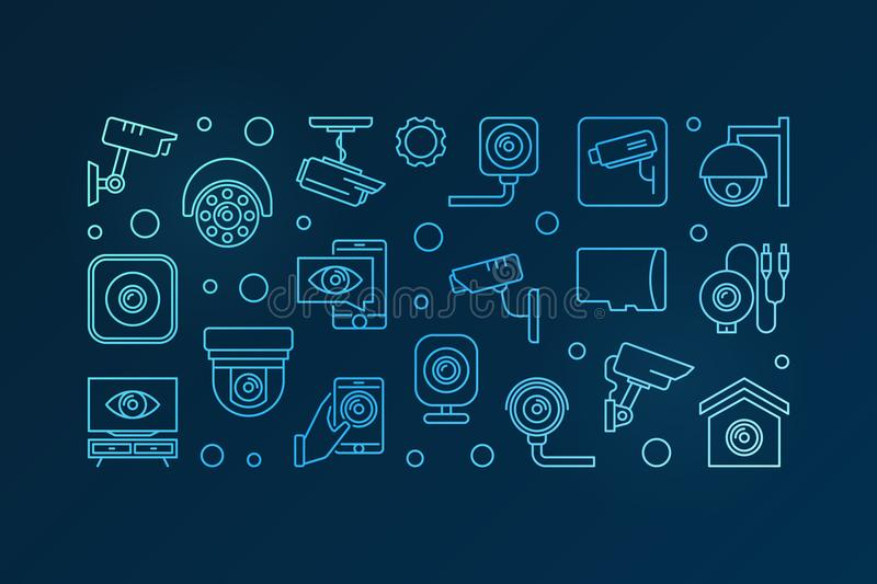 Blue CCTV and surveillance camera vector banner. Blue CCTV and surveillance camera concept vector horizontal illustration or banner on dark background stock illustration