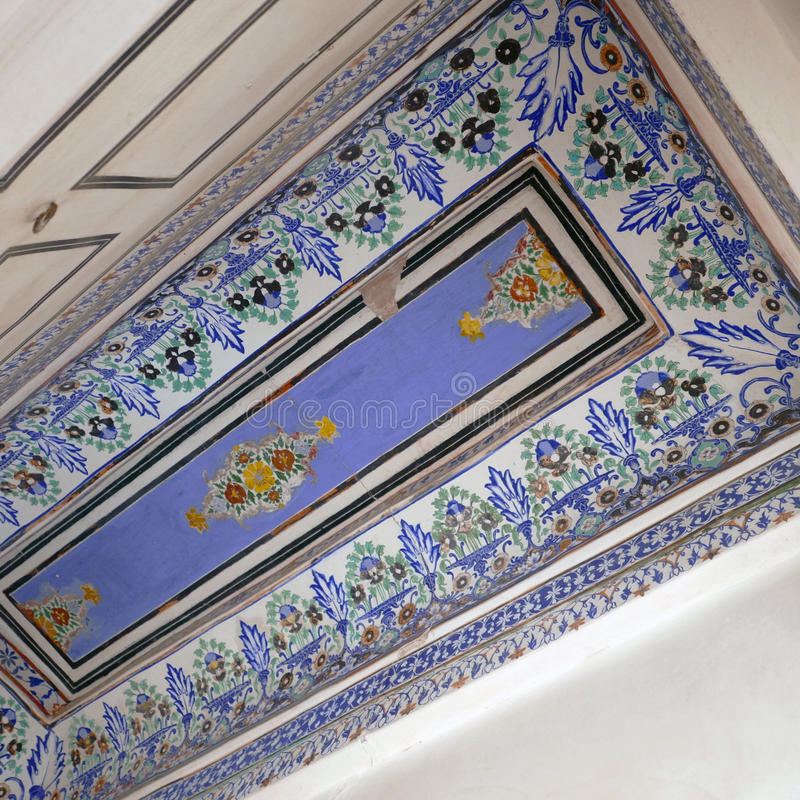 Blue ceiling at Bikaner,India. BIKANER, INDIA: Blue painted ceiling with patterns inside the 16th century Junagarh Fort royalty free stock photography