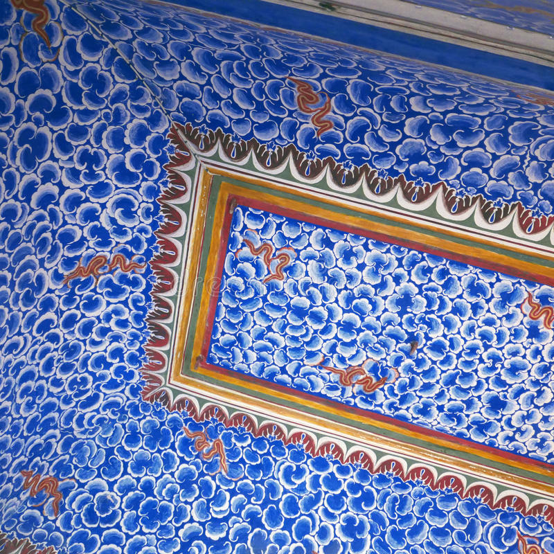 Blue ceiling at Bikaner,India. BIKANER, INDIA: Blue painted ceiling with patterns inside the 16th century Junagarh Fort royalty free stock images