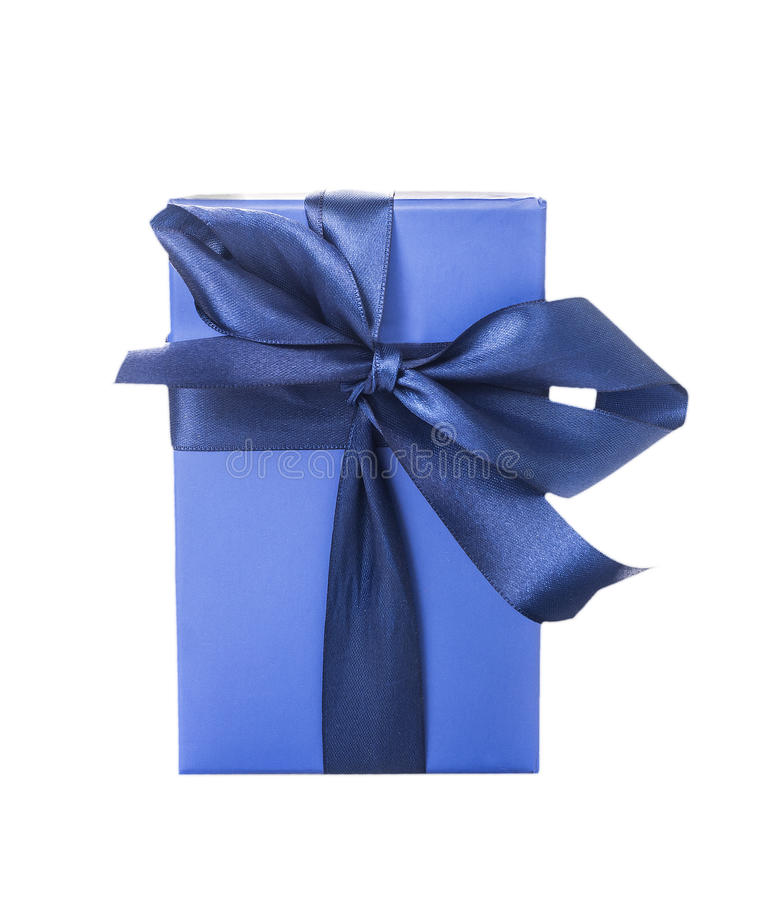 Blue Celebratory packing with bow, isolated. On white royalty free stock images