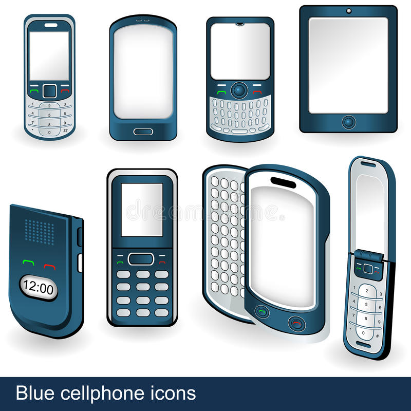 Blue cellphone icons royalty free illustration