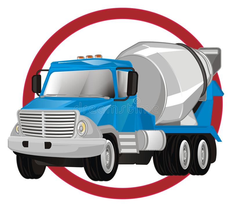 Cement truck and road sign. Blue cement truck peek up fron red road sign on a white background royalty free illustration
