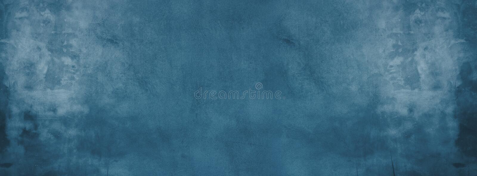 blue cement wall with dark texture and banner background stock images