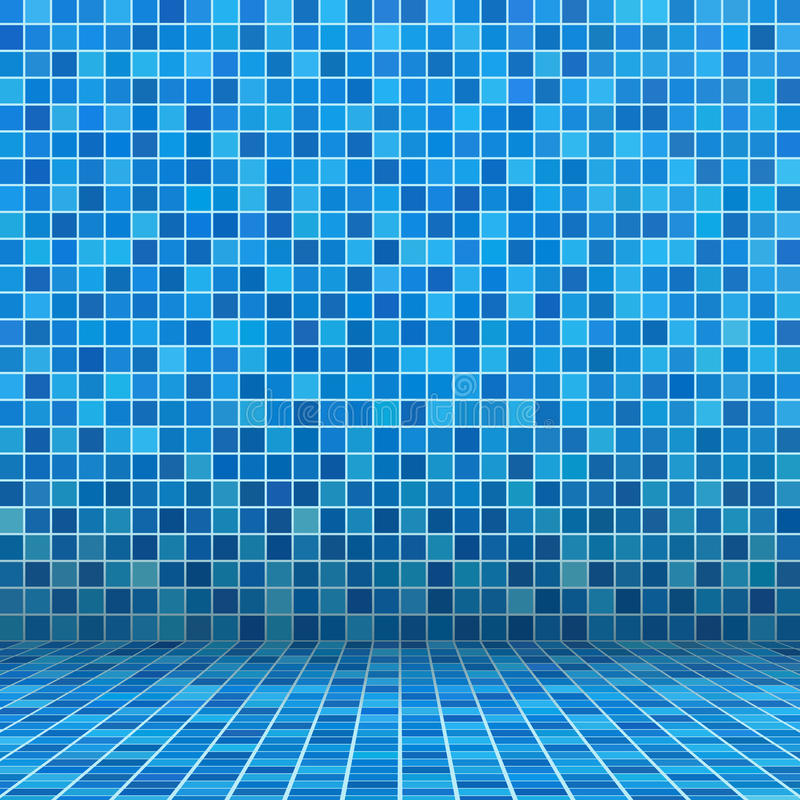 Blue ceramic tile. Mosaic in swimming pool stock illustration