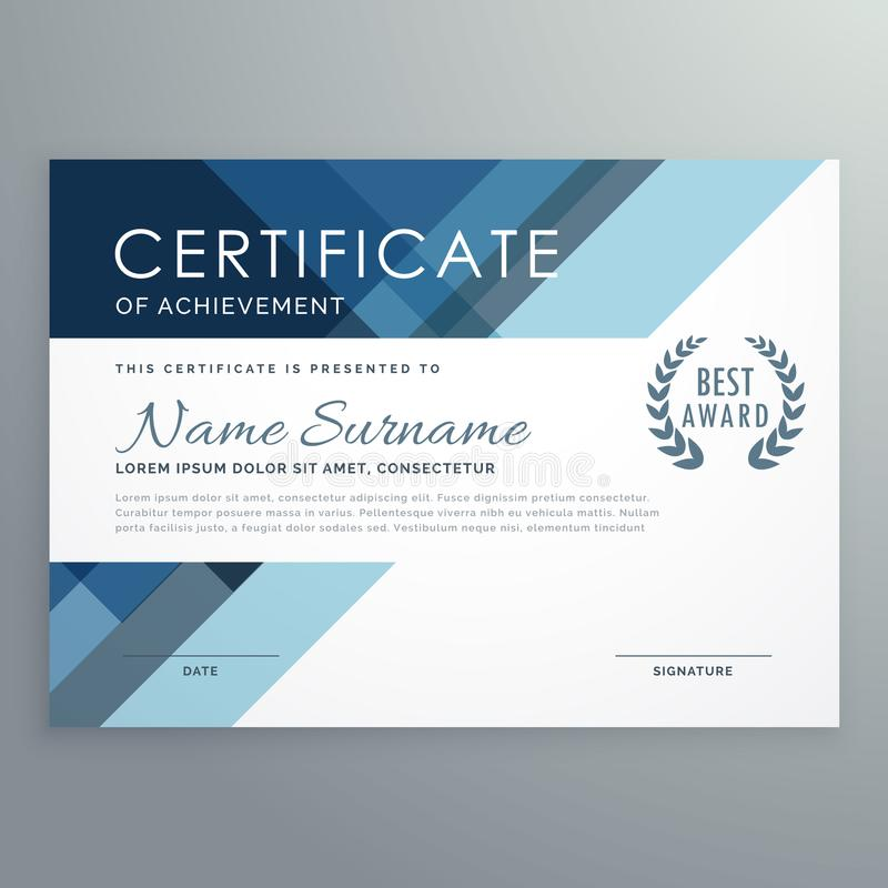 Blue certificate design in professional style royalty free illustration