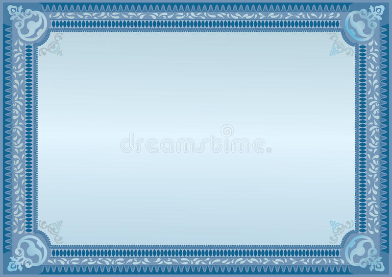 Blue certificate. Official blank. Horizontal blank. Template stock illustration