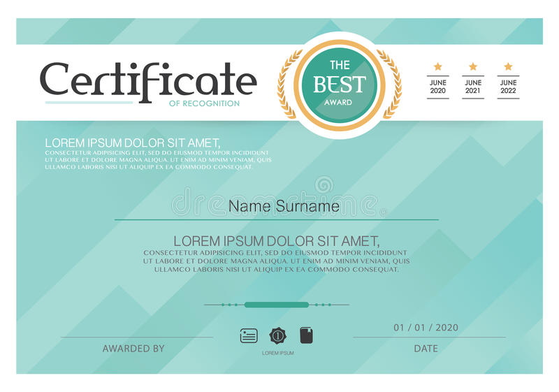 Blue Certificate Vector Certificate Template Modern Style
