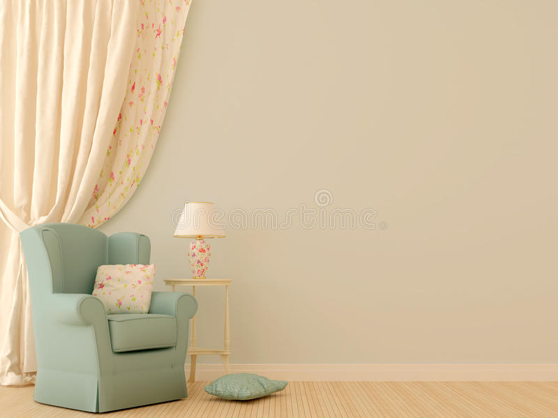Blue chair by the curtains royalty free illustration