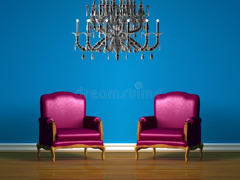 blue chairs interior minimalist purple бесплатная иллюстрация
