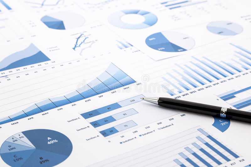 Blue charts, graphs, data and reports stock images