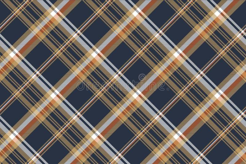 Blue check diagonal seamless fabric texture royalty free illustration