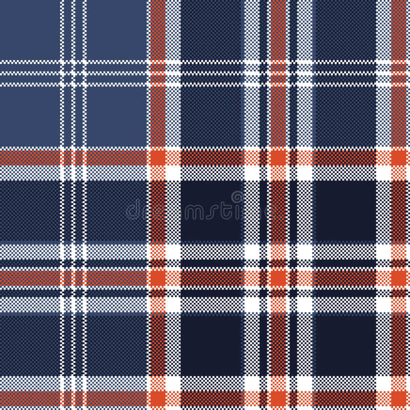 Blue check fabric texture pixel seamless pattern royalty free illustration