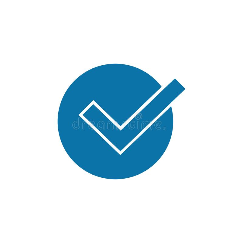 Blue check mark in circle icon in trendy flat style, check box icon. Vector illustration isolated on white background. stock illustration