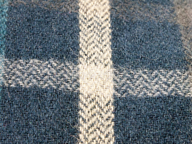 Blue checkered cotton wool close up texture of pjs royalty free stock photos