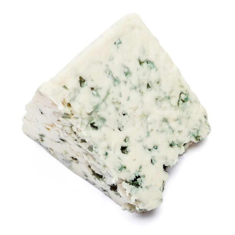 Blue cheese on a white background. Clipping path. Piece of blue cheese isolated on a white background. Clipping path royalty free stock photos