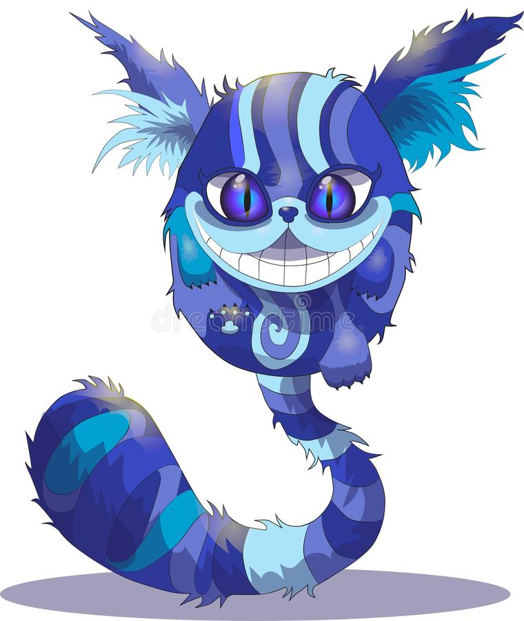 Cheshire cat on a white background, Alice in Wonderland, . Blue Cheshire cat on white background, based on movie Alice in Wonderland royalty free illustration