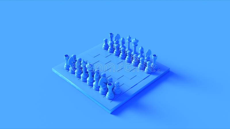 Blue BillboardBlue Chess Board and Pieces stock illustration