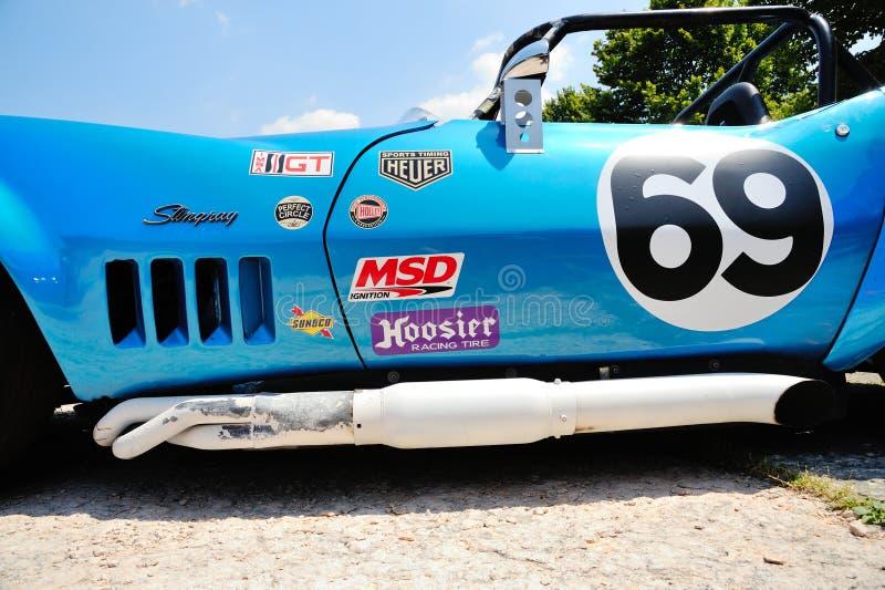 A blue Chevrolet Corvette Stingray SCCA / IMSA (detail) takes part to the Nave Caino Sant'Eusebio race royalty free stock photography