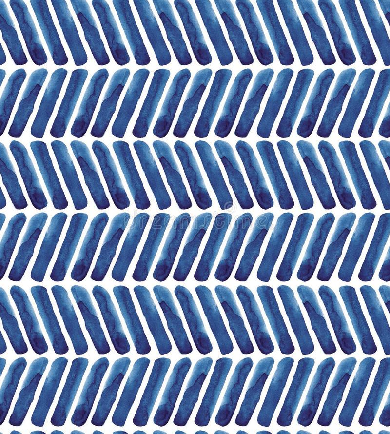 Blue chevron watercolor pattern. Navy background. Stripes modern abstract illustration royalty free stock image