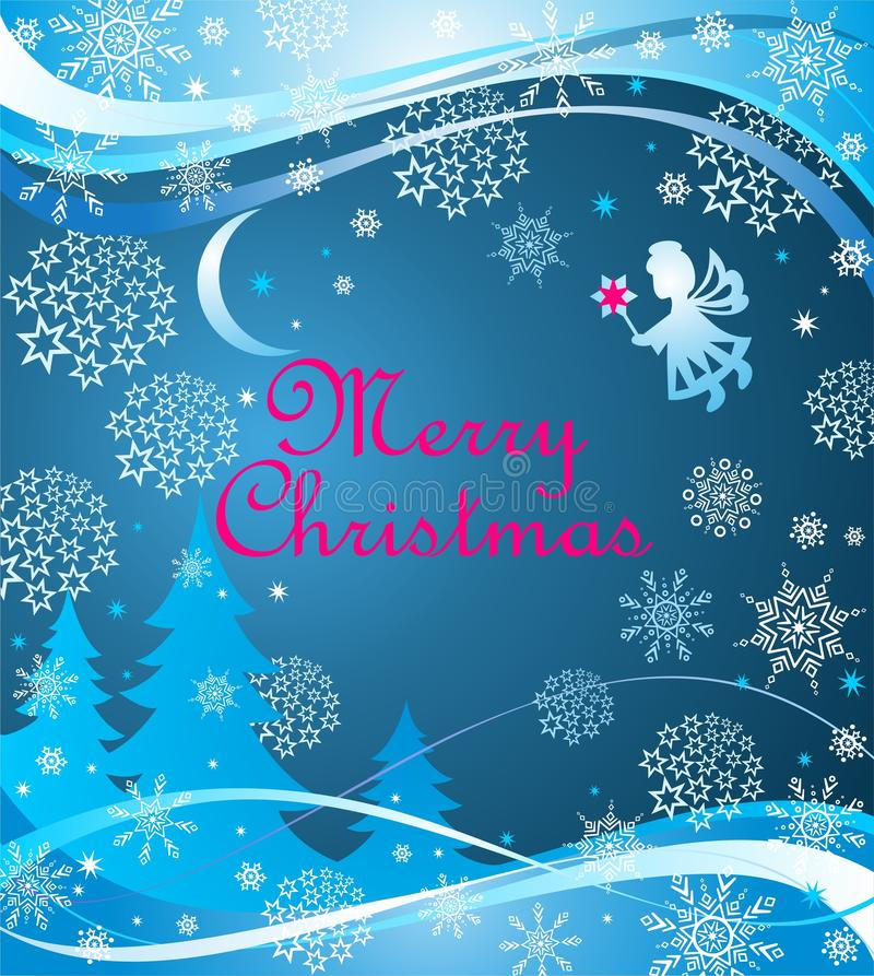 Blue childish Xmas greeting magic banner with paper cutting little angel with Christmas star, snowflakes, baubles, firs and cresce vector illustration