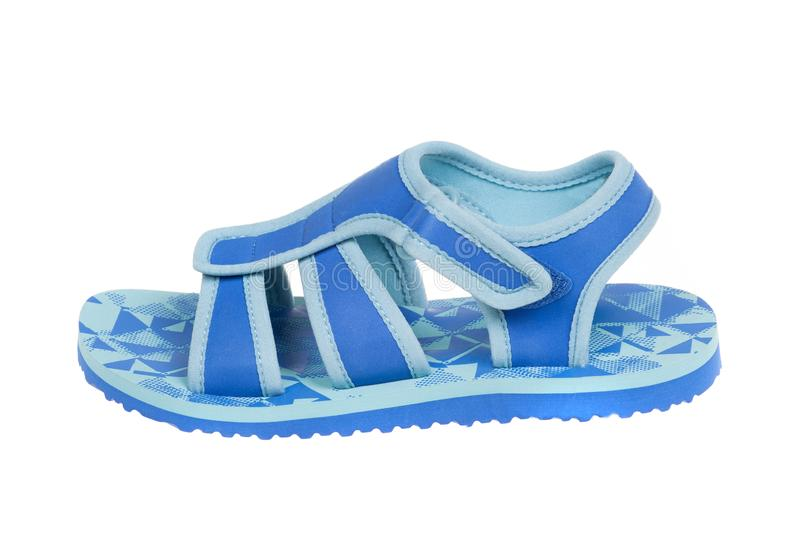 Blue childrens sandal, isolated on white background royalty free stock image