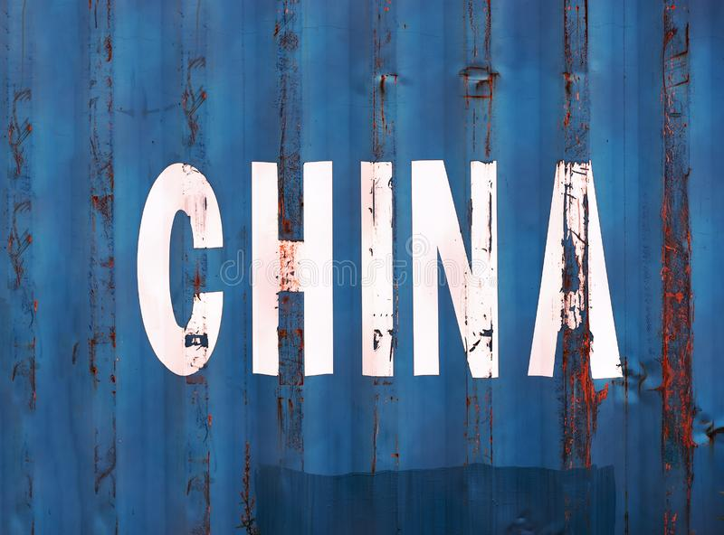 Blue China delivery container textured background. Hd orientation vivid vibrant color bright rich composition design concept element object shape backdrop royalty free stock image