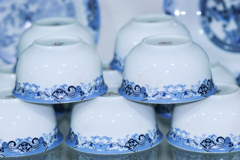 Blue china teacup stock photography