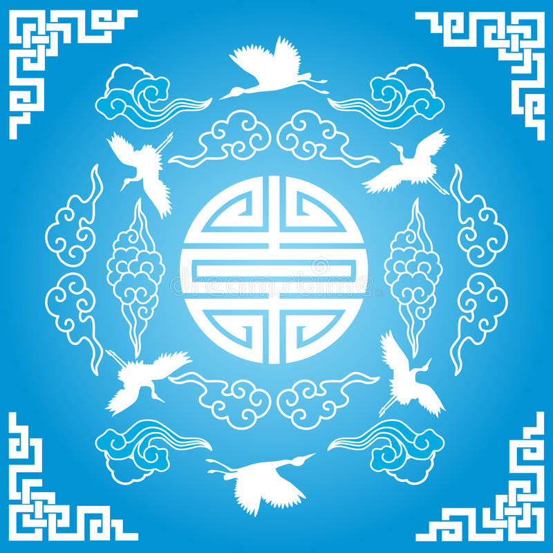 Blue Chinese background vector illustration