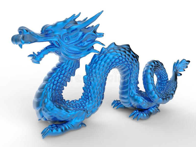 Blue Chinese dragon statuette royalty free illustration