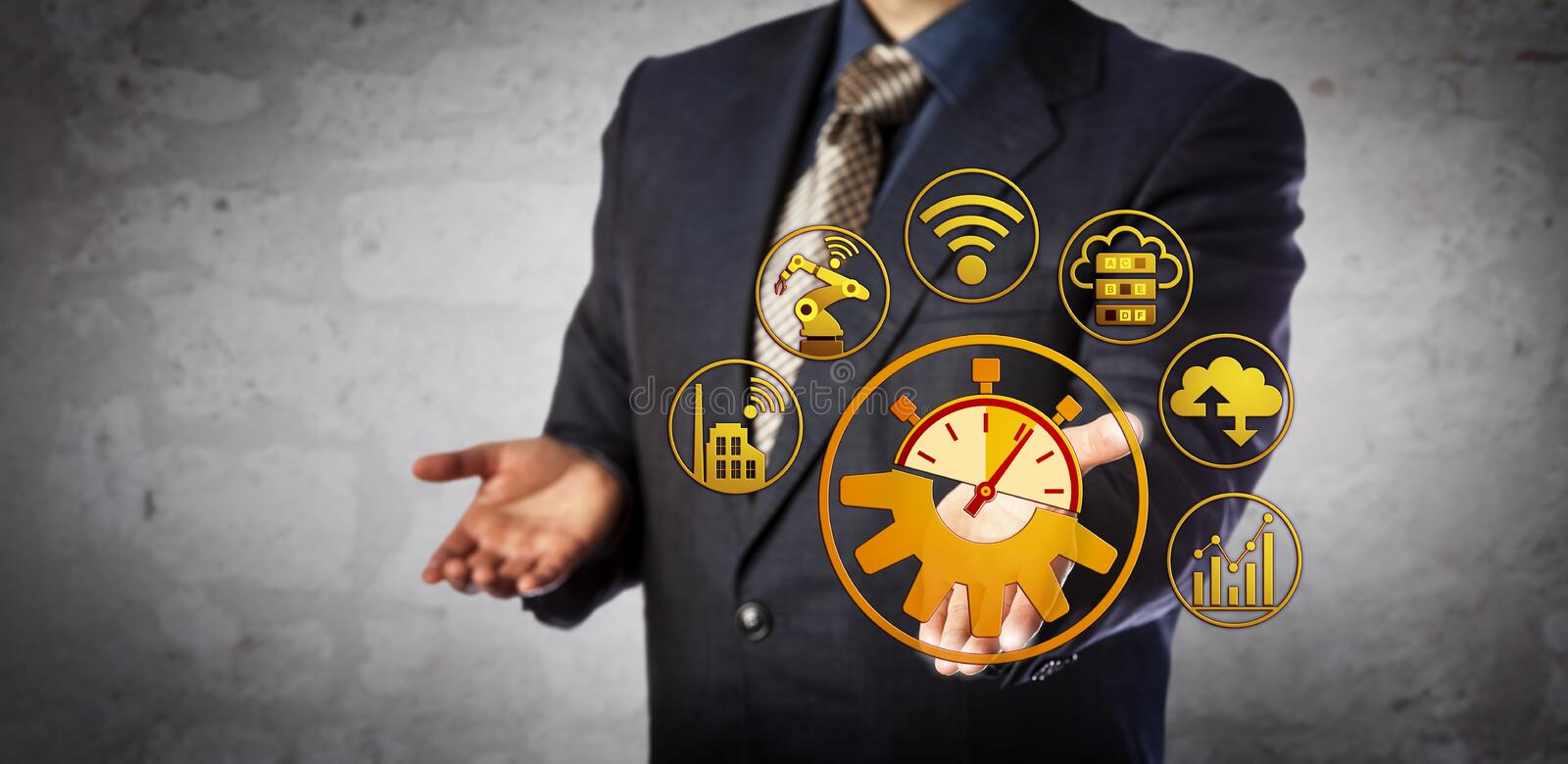 Blue Chip Manager Offers Real Time Manufacturing. Blue chip manager offers real time interoperability solution. Concept for cyber physical systems, 4th stock image