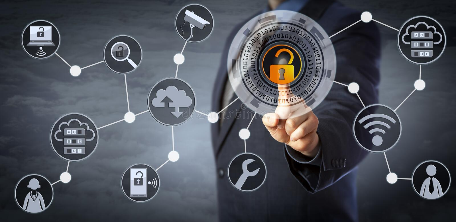 Blue Chip Manager Unlocking Access Control. Blue chip manager is unlocking a virtual locking mechanism to access shared cloud resources. Internet concept for
