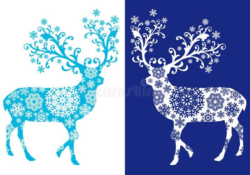 Blue chirstmas deer , vector set royalty free illustration
