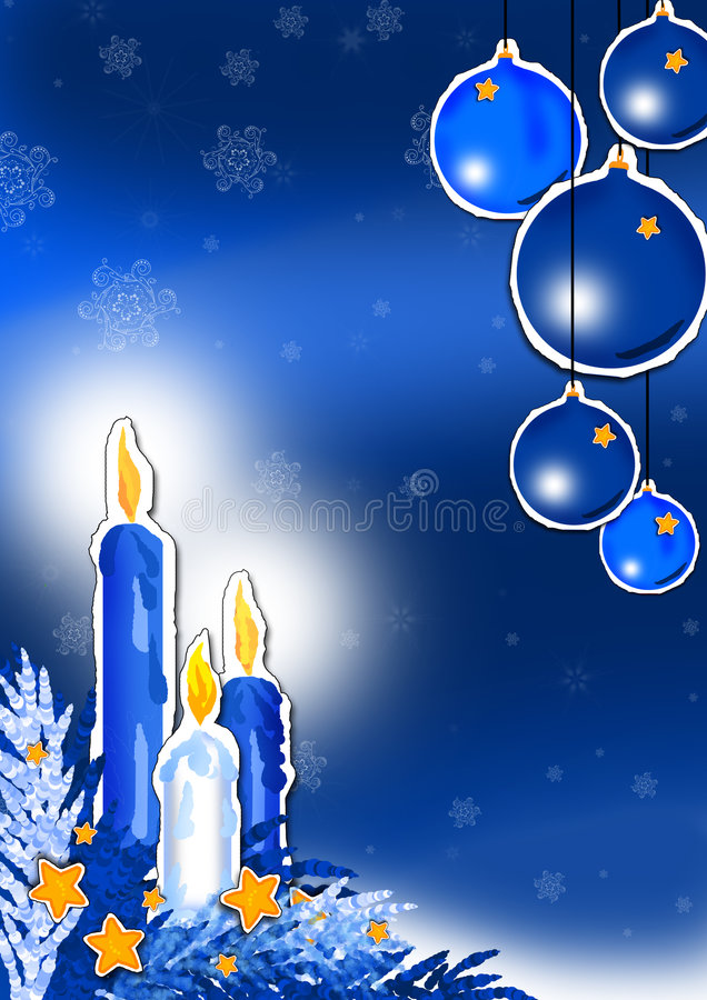 Blue Christmas. Hand drown illustration of blue candles and baubles on blue background vector illustration