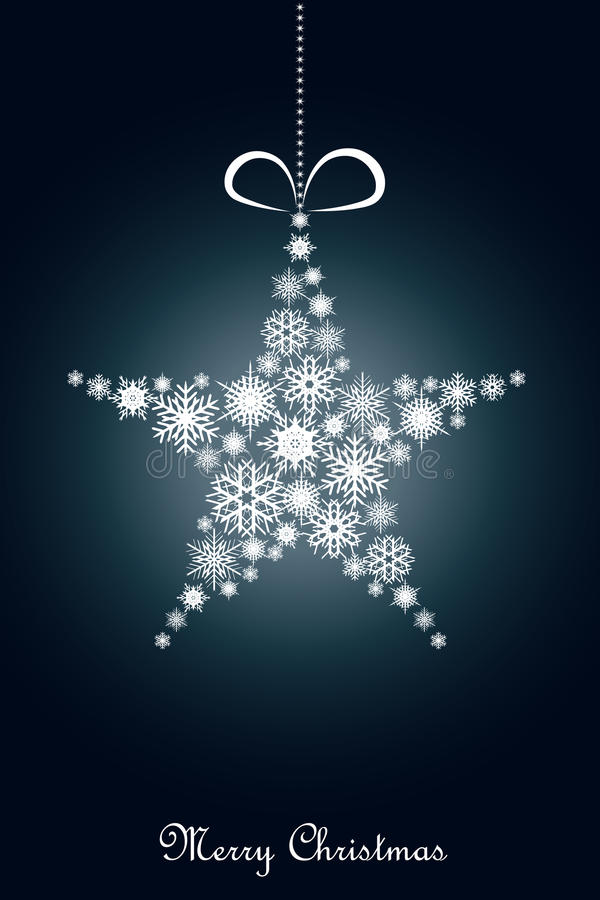 Blue Christmas background. A blue Christmas background with a hanging ornamental star of snowflakes.EPS file available