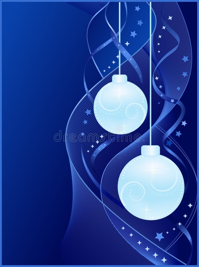 Blue Christmas background with Christmas balls stock illustration