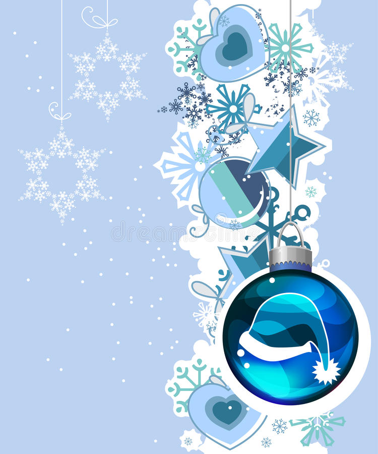 Blue Christmas background with hanging balls stock illustration