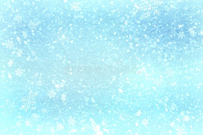 Blue Christmas background snow texture, abstraction, snowflakes stock photo
