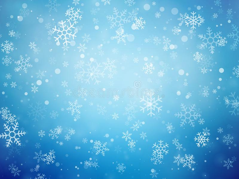 Blue Christmas background with snowflakes royalty free illustration