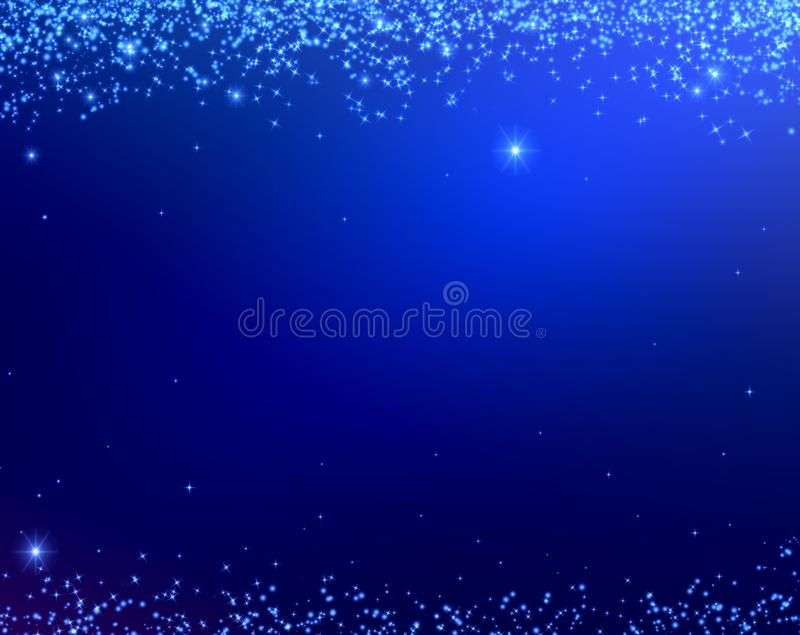 Blue Christmas background texture with stars falling from above. Vacation and travel. Background for banners and postcards. Congratulation wishes royalty free illustration