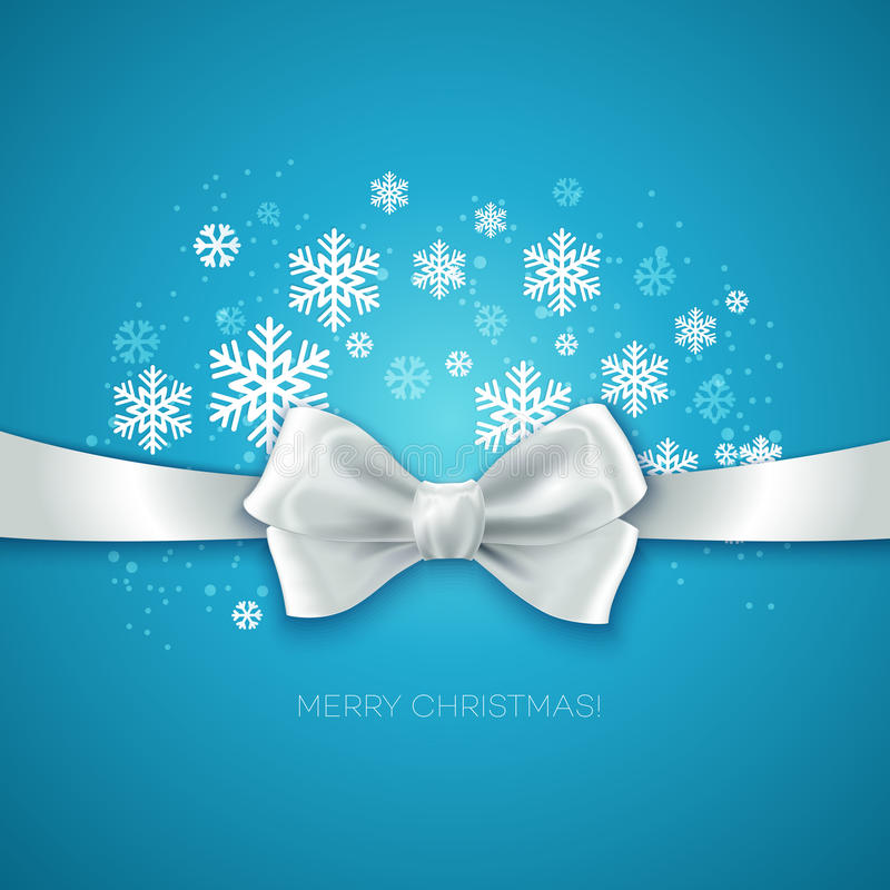 Blue Christmas background with white silk bow. Vector illustration vector illustration