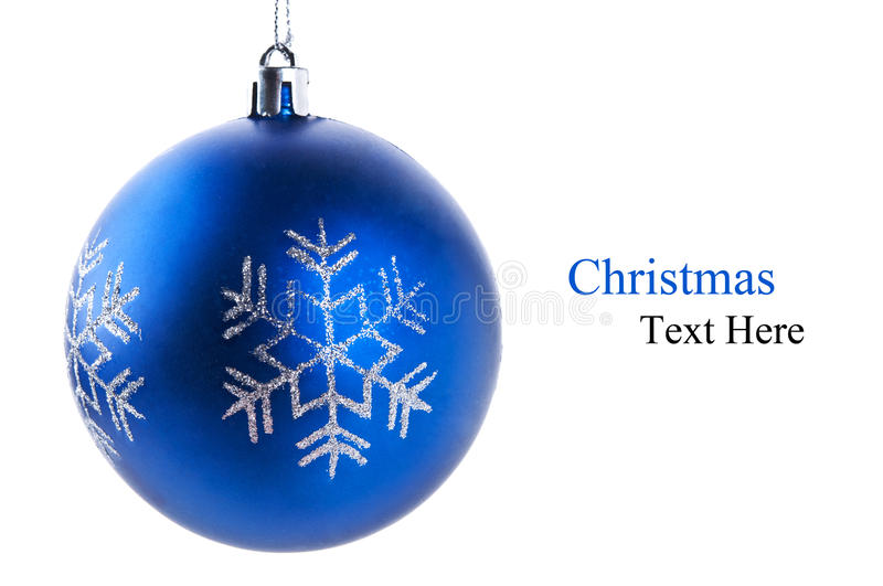 Blue christmas ball. Isolated on a white background royalty free stock photos