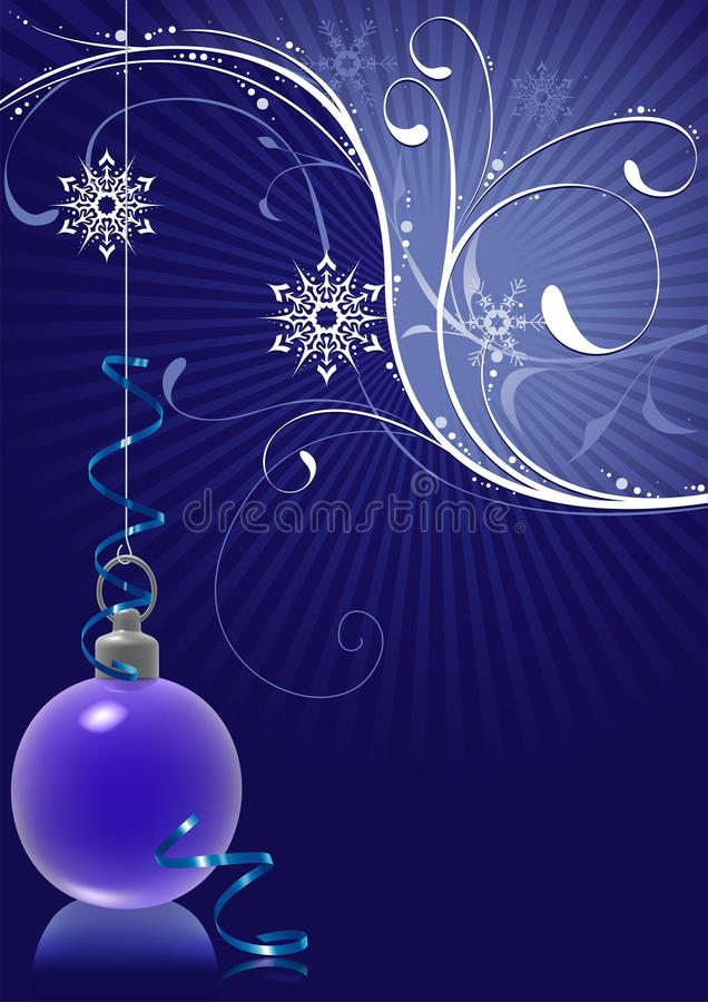 Free Blue Christmas Ball And Snowy Floral Stock Photo - 11194920