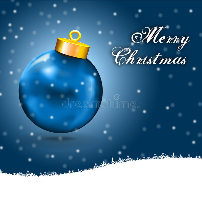 Blue Christmas Ball Card with snow, and free white stock illustration