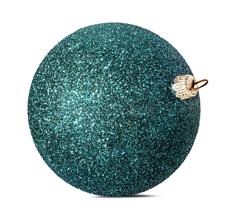 Blue christmas ball, isolated royalty free stock photography