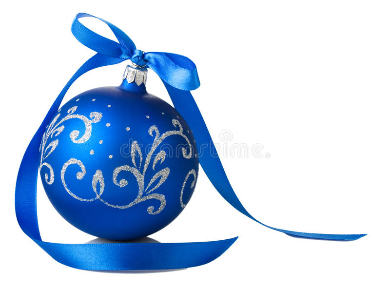Blue christmas ball with ribbon bow stock images